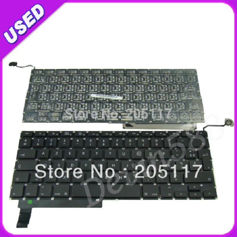 KEYBOARD For Macbook Pro Unibody A1286 French Keyboard 2009 2010  2011 ,100% WORKING ! brand new azerty fr french keyboard backlight backlit 100pcs keyboard screws for macbook pro 15 4 a1286 2009 2012 years
