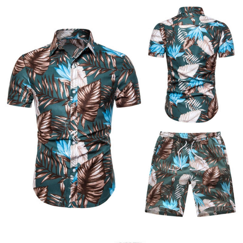 HTB1eINoXKbviK0jSZFNq6yApXXaC - Summer Fashion Floral Print Shirts Men+Shorts Set Men Short Sleeve Shirts Casual Men Clothing Sets Tracksuit Plus Size