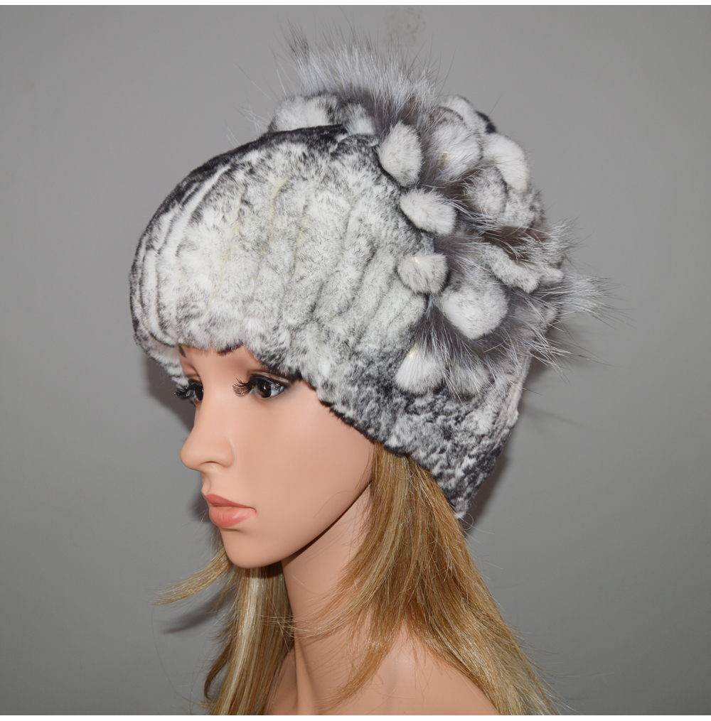 d443952cbf7 2019 Real Genuine Rex Rabbit Fur Cap Russia Winter Knitted Real Rex ...