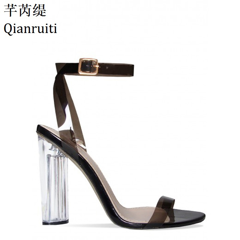Qianruiti Transparent PVC Ankle Buckle Strap Women Sandals Open Toe Clear High Heels Shoes Kim Kardashian Style Women Pumps