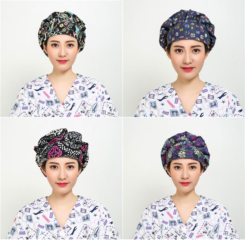 4PCS Cotton Surgical Cap Doctor Nurse Medical cap Woman Hospital Doctor Surgery Adjustable Clinic Nurse Hats Medical Accessories