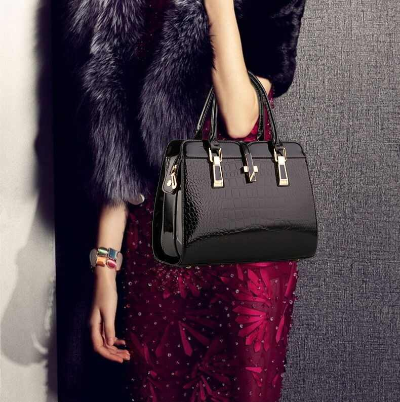Femmes sacs à main en cuir véritable brevet marque de luxe femmes sacs 2018 dames sacs à bandoulière pour femmes sacs à bandoulière F328