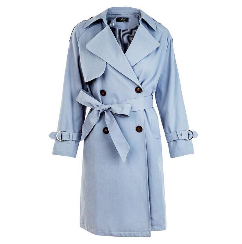 Abrigos Milieu Kaki Mode vent Nouvelle Blue Brésil Femme Coupe Mince W594 longue Ceinture Tranchée Mujer Femmes Breasted Double Manteau khaki 2018 ISan54zn