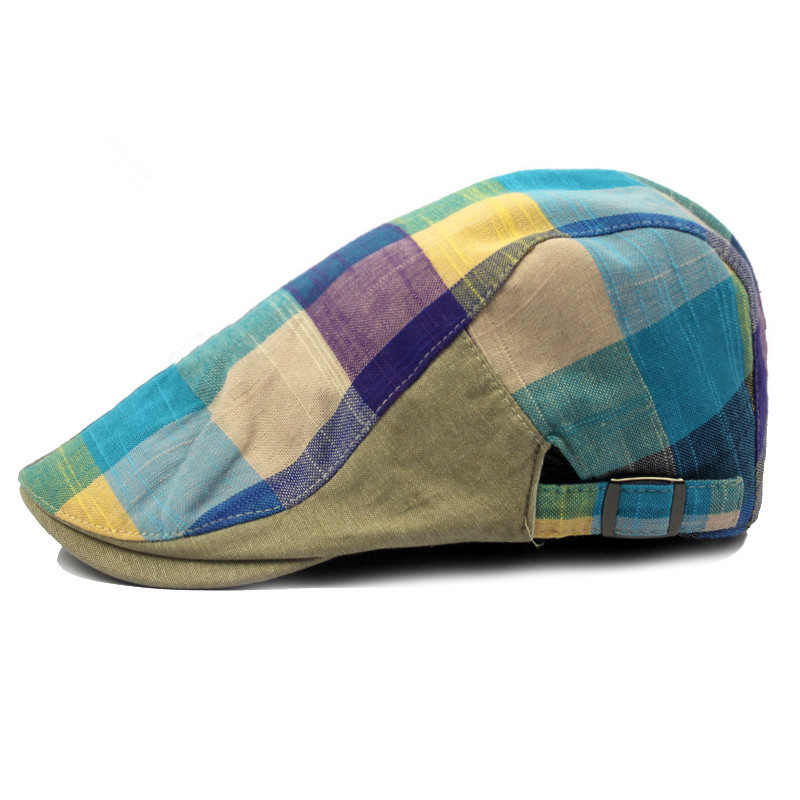 Casual Retro Hat Ladies  Men and Women Spring Summer Sun Plaid Plaid Forward Hat Ladies Newsboy Cap