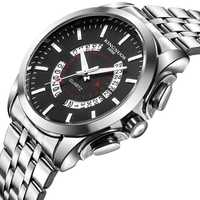 Relogio Masculino KINGNUOS Brand Men's watch Stainless Steel Waterproof Quartz Watches Business Leather Calendar Wristwatch