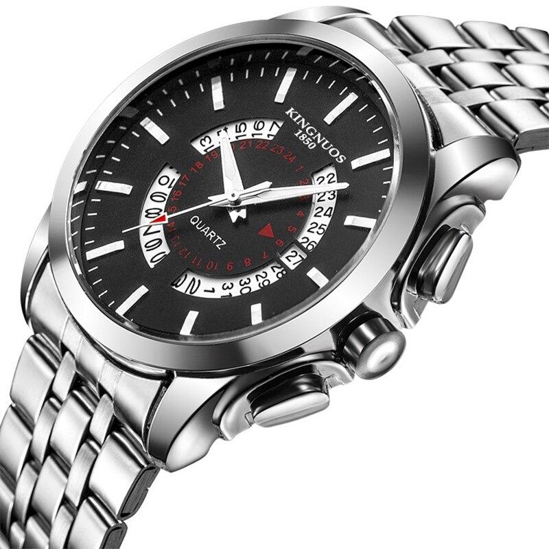 Relogio masculino kingnuos marca relógio masculino aço inoxidável à prova dwaterproof água relógios de quartzo negócios calendário couro relógio de pulso