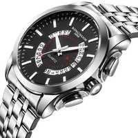 Reloj de pulsera de cuarzo resistente al agua de acero inoxidable para hombre, reloj de pulsera con calendario de cuero de negocios
