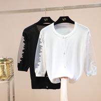 seven sleeve ice silk knitted cardigan lace stitching thin jacket small shawl short sunscreen air conditioning shirt