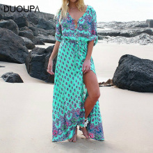 DUOUPA Womens Summer Robe Retro Boho Style Dress Short Sleeve Beach Bohemian
