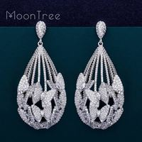 MoonTree Luxury Butterfly Water Drop AAA Circle Cubic Zirconia Dubai Women Wedding Engagement Party Fashion Jewelry Earrings