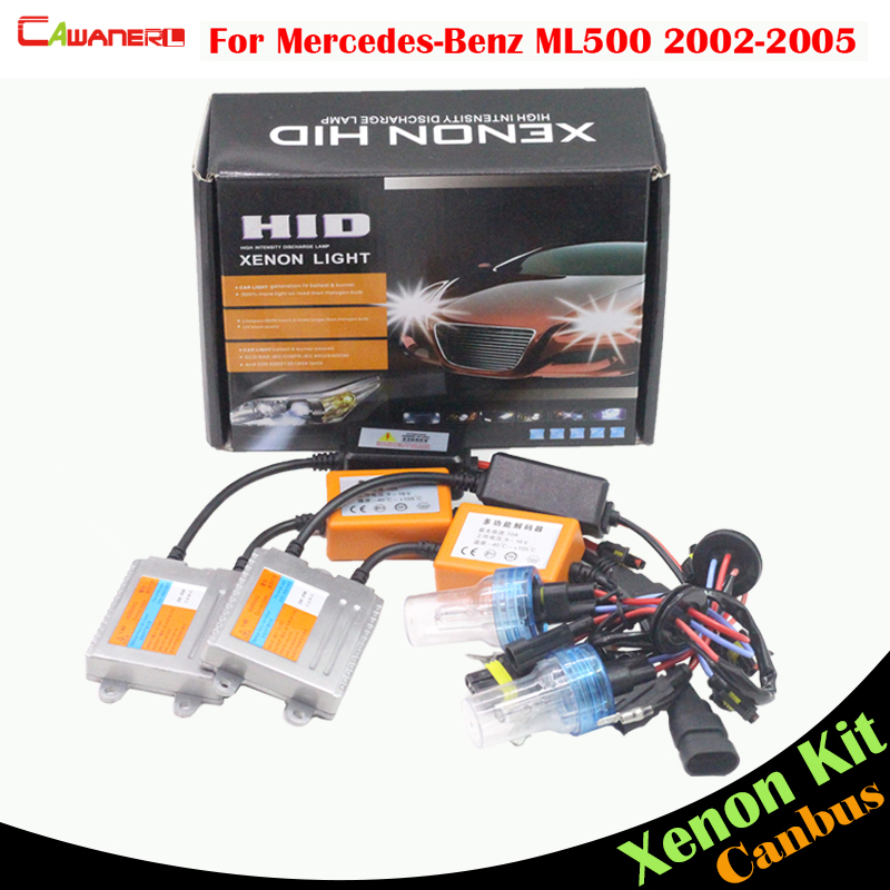 Cawanerl 55W No Error Ballast Bulb 3000K-8000K HID Xenon Kit AC For Mercedes Benz W163 ML500 2002-2005 Car Headlight Low Beam 1998 2005 year for mercedes benz w163 ml320 ml350 ml430 ml450 head lamp silver lf