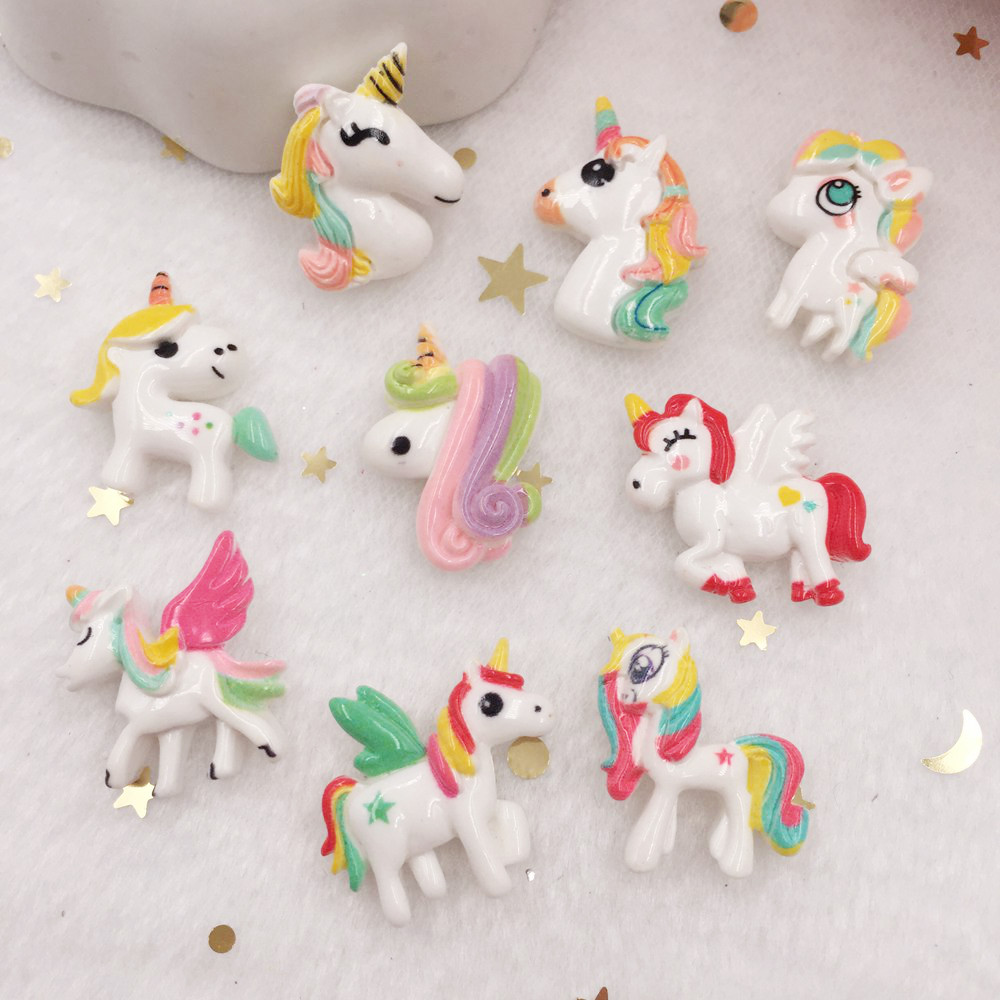 Lovely Resin 3D Colorful  Unicorn Flat Back Cabochon Figurine Stone Appliques 10pcs DIY Wedding Scrapbook Craft  OR67