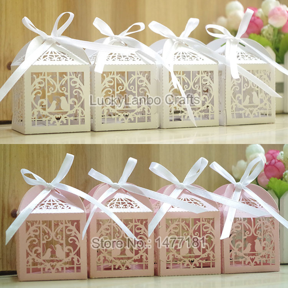 50pcs Luxury Laser Cut LOVE BIRD Wedding Favour Boxes Sweet Candy ...