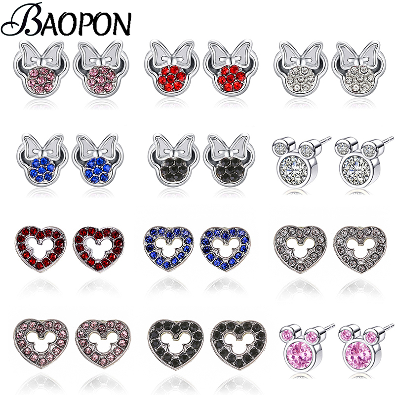 BAOPON Minnie Earrings Presents Sparkling Fashion Jewelry Girls Silver-Color Mickey Kids