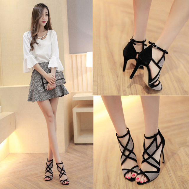 Fish mouth shoes female summer sexy high-heeled fight color wild cross strap 2019 new hollow exposed toe fine with