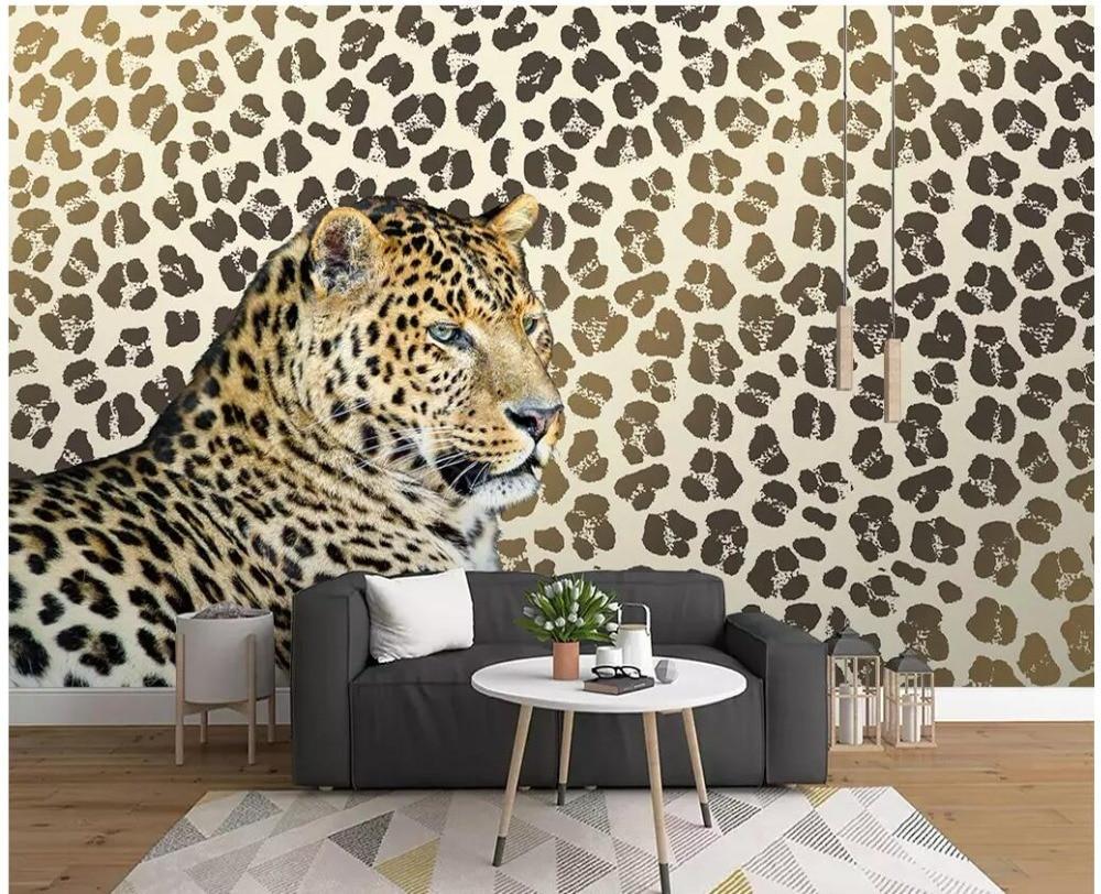 Us 1607 48 Offcustom Photo 3d Room Wallpaper Leopard Print Leopard Living Room Tv Background Wall Decor 3d Wall Murals Wallpaper For Walls 3 D In