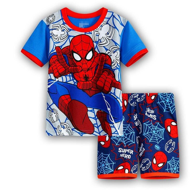 7 Kids Boys Girls Pajamas Cartoon Spider-Man Set Baby Sleepwear Cotton Superhero Costumes Shorts + Short Sleeve Tees Baby Clothing