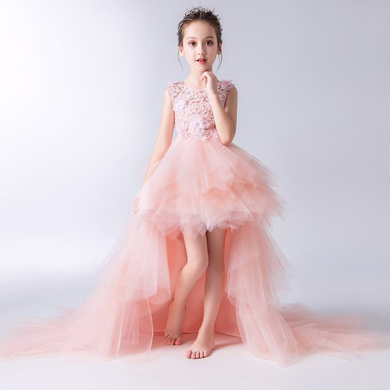 2019 Kids Girl Beads Mesh Trailing Vestido Teen Girl Lace Appliques Wedding Party Dress Children First Communion Prom Gown Q728