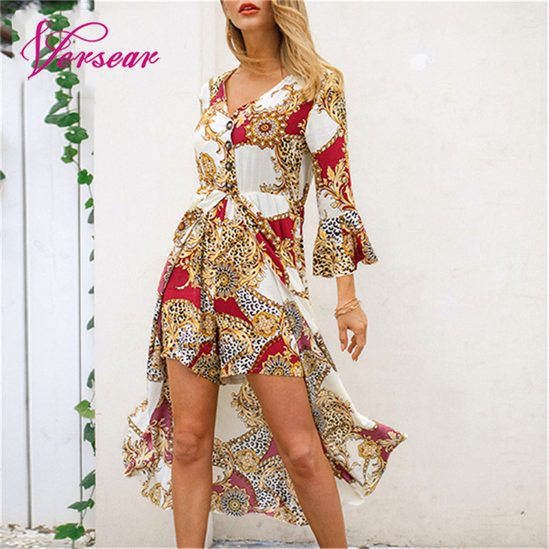 Versear Rompers Shorts Printed Jumpsuit Button-Asymmetry Beachwear V-Neck Casual Fashion