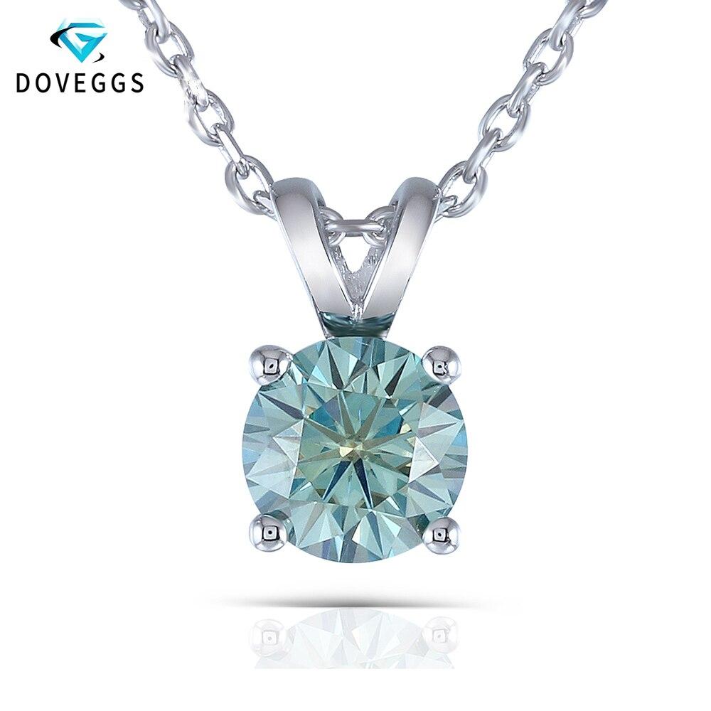 DovEggs Platine Plaqué collier en argent 2 Carat 8mm bleu foncé Moissanite Solitaire Pendentif Collier pour les Femmes