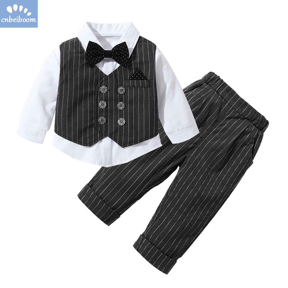 Image 3 - 2019 New Kids Boy Clothes Baby Gentleman Suit Clothing Sets Fake two piece vest shirt Toddler children 1 4Y Birthday Party Dress-in Clothing Sets from Mother & Kids