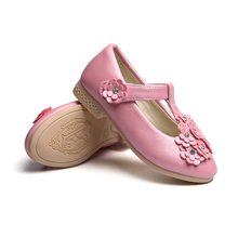 Children shoes girls wedding kids party casual for girl dance leather flower princess children flat white pink black