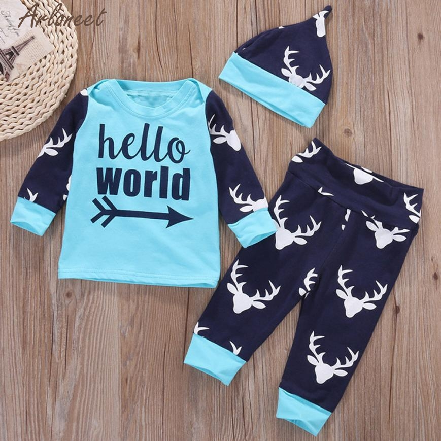 ARLONEET Baby Clothing Newborn Baby Girl Boys Letter Tops+Deer Outfits Clothes Set E30 Jan10