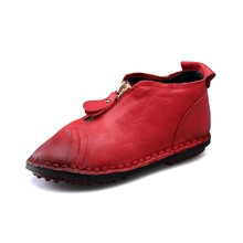 High Quality Handmade Genuine Leather Flat Shoes Women Vintage Zip Casual Ladies Shoes Round Toe Soft Leather Shoes Women TG043