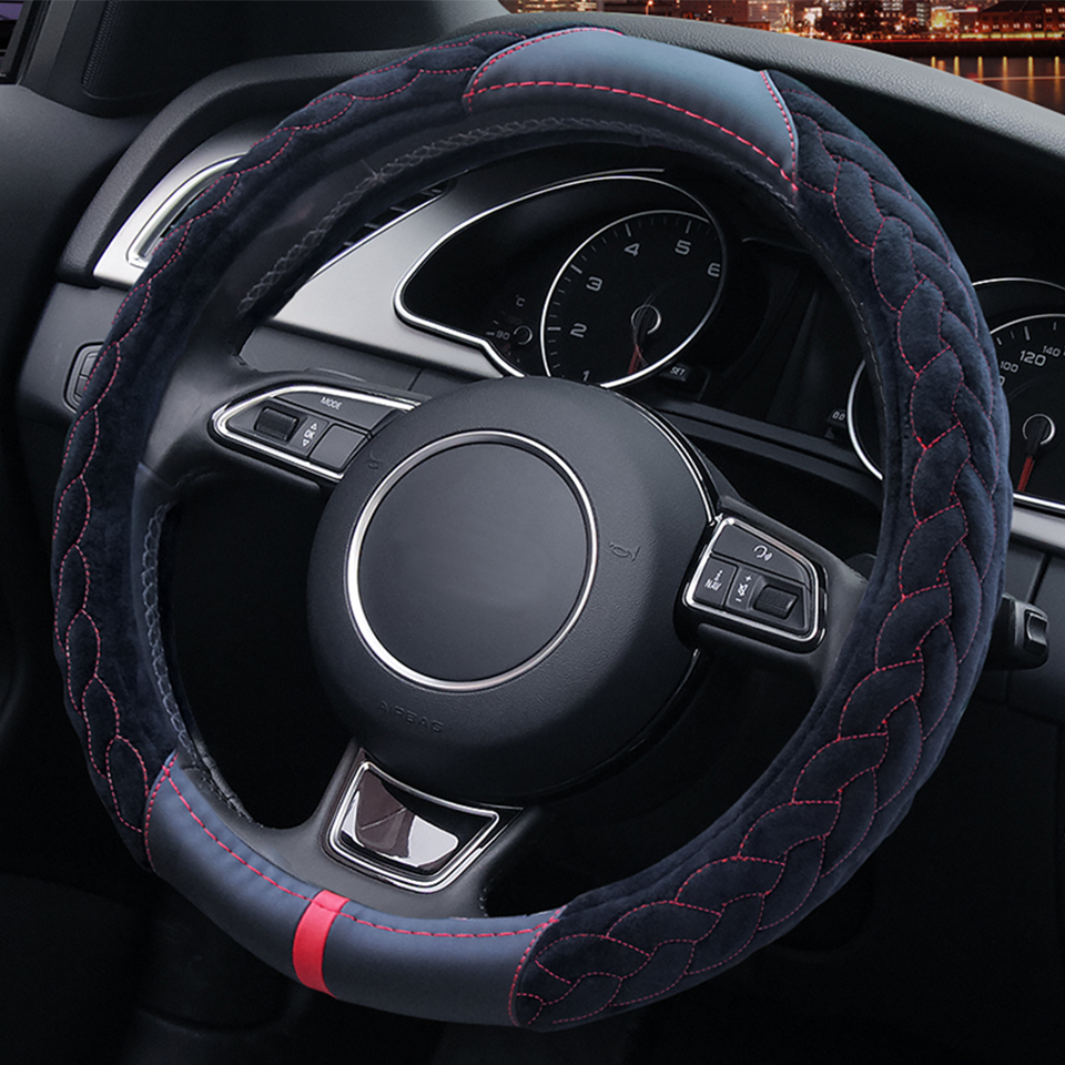 High quality warm plush car steering wheel cover 38cm fur winter interior accessories for ford focus