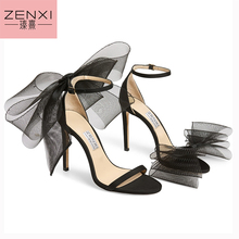 Black Aveline 100 mm sandals ZENXI New Style Flly Embrace Designs Du Jour With Asymmetrical Sandals Exaggerated Hand- Tied  Bows