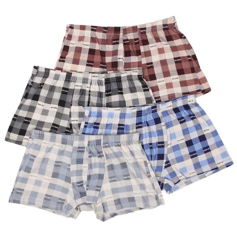 Boxers Shorts Underwear Panties Plaid Big-Size Cotton Comfortable Men's Home Classic