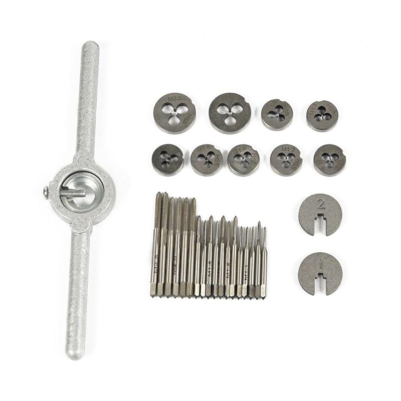 31 sets of metric circular die setDIES M1 / M1.1 / M1.2 / M1.4 / M1.6 / M1.8 / M2 / M2.2 and M2.5 with 1 wrench Hss Circular Die 20pcs m3 m12 screw thread metric plugs taps tap wrench die wrench set