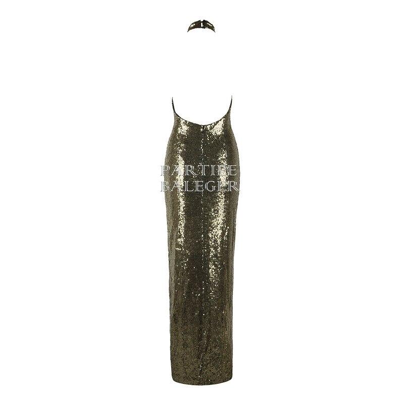 Club Dos Nu Arrivée Manches Mode 2019 Party Robe Nouvelle Celebrity Maxi Sexy Or Wear Longue Paillettes Conception De Élégante Sans Embelli w5Z8zq
