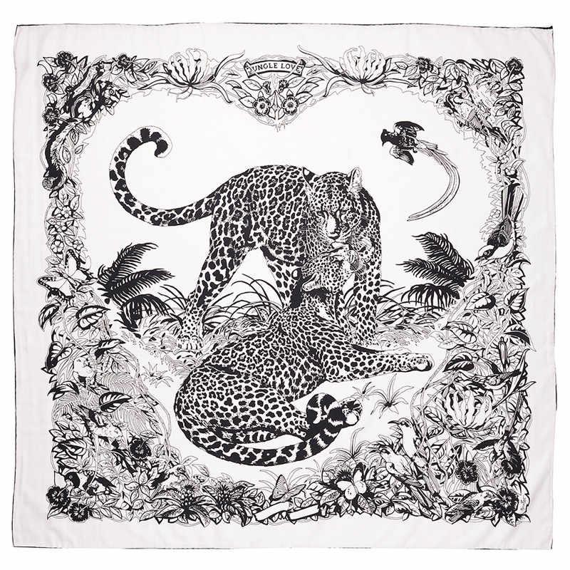 POBING 90x90 см шелковый шарф женский парный Леопардовый принт ручной квадратный шарфы пчелиный Echarpes Foulards женская накидка Бандана Маленький хиджаб