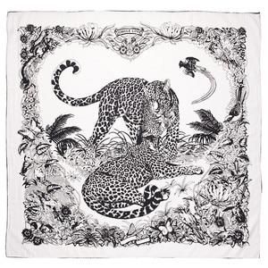 POBING 90x90cm Silk Scarf Women Couple Leopard Print Manual Square Scarves Bee Echarpes Foulards Femme Wrap Bandana Small Hijab(China)
