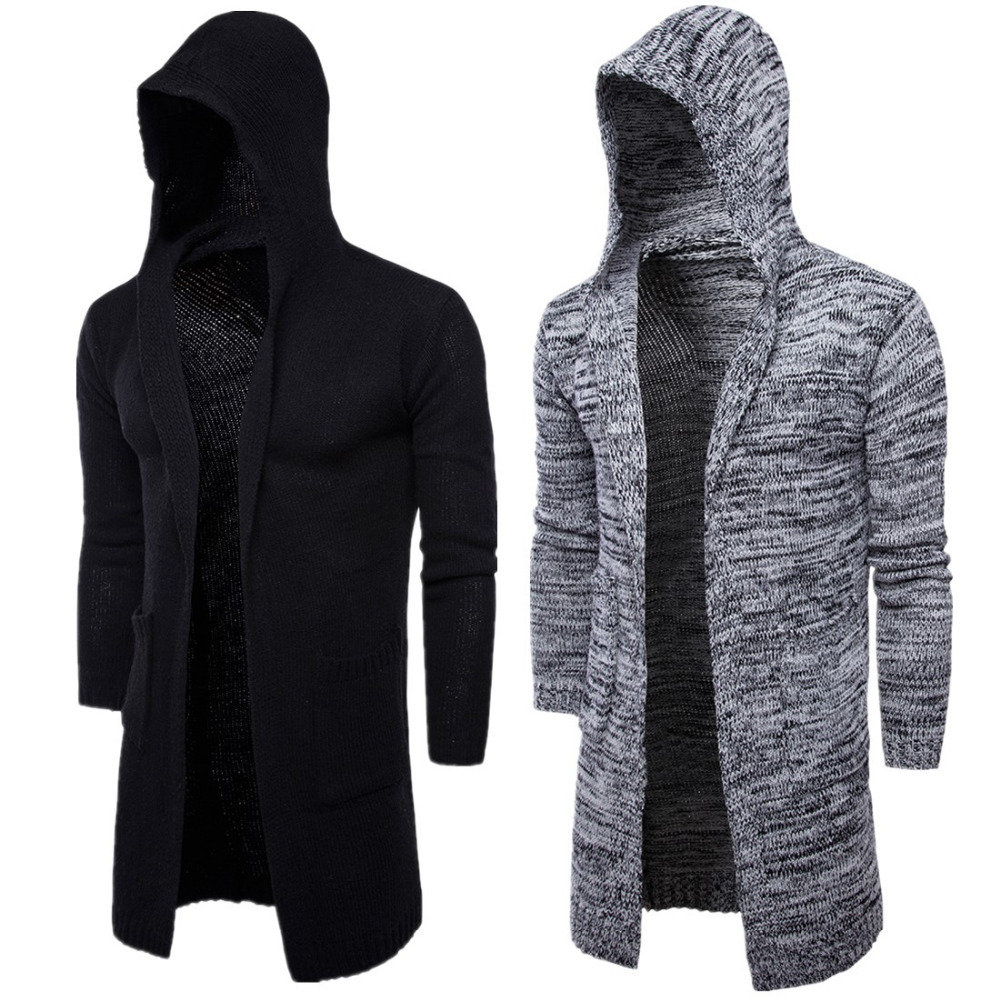 Hot sale men knitted sweater hooded cardigan long sleeve coat 2017 ...