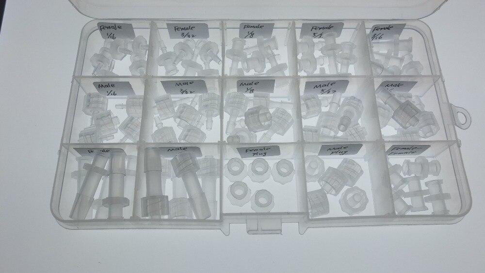 Pces em Uma Caixa de Plástico Sortimento Luer Lock Connector Polyprop Seringa Encaixe 75