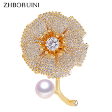 ZHBORUINI New High Quality Natural Freshwater Pearl Brooch Metal Velvet Flower Gold Jewelry For Women Not Fade Gift