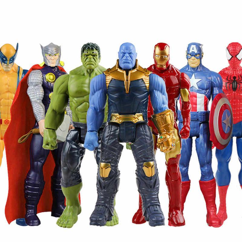 Endgame 30 centímetros Vingadores Marvel Thanos Spiderman Homem De Ferro Capitão América Thor Hulk Wolverine Action Figure Bonecas Brinquedos para o Miúdo DS49