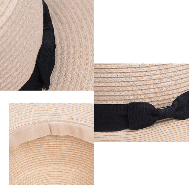 EAGLEBORN Lady Boater sun caps Ribbon Round Flat Top Straw beach hat Panama Hat summer hats for women straw hat snapback gorras 1