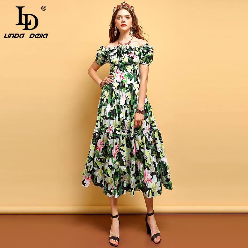 LD LINDA DELLA 2019 Summer Fashion Runway Plus Size Dress Women s Off shoulder Ruffles Floral