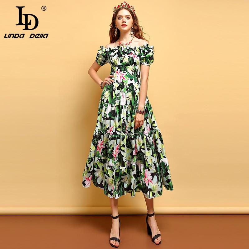 LD LINDA DELLA 2019 Sommer Fashion Runway Plus Größe Kleid frauen Weg schulter Rüschen Floral Print Midi Elegante Ferien kleid-in Kleider aus Damenbekleidung bei  Gruppe 1