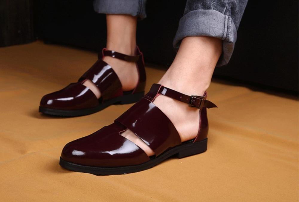 Mens Cool Sandals Summer Closed Toe Cutout Italian Sandals