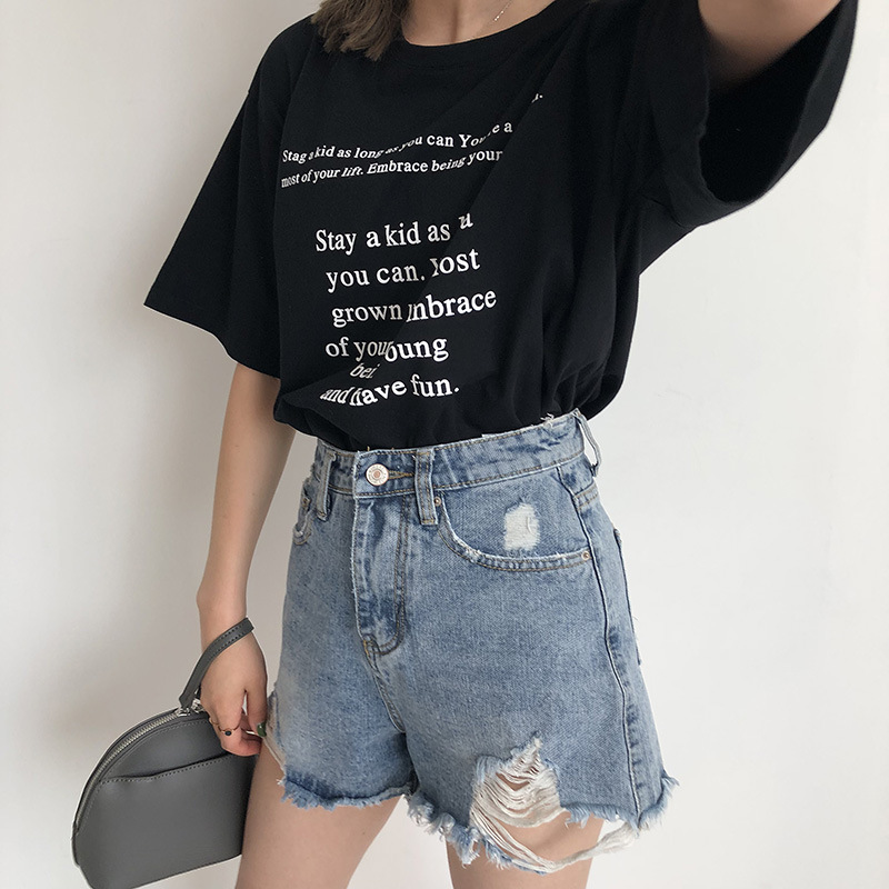 Ulzzang BF Vogue T Shirt Letter Printing Tops Korean Students Loose ... fffd647d6054