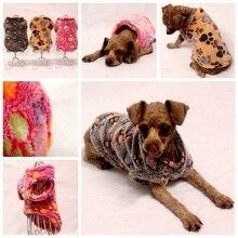 Купить с кэшбэком Cute footprints printing Small dog clothes winter soft Warm dog coat vest pet Home Clothing Pajamas velvet dog jacket costume