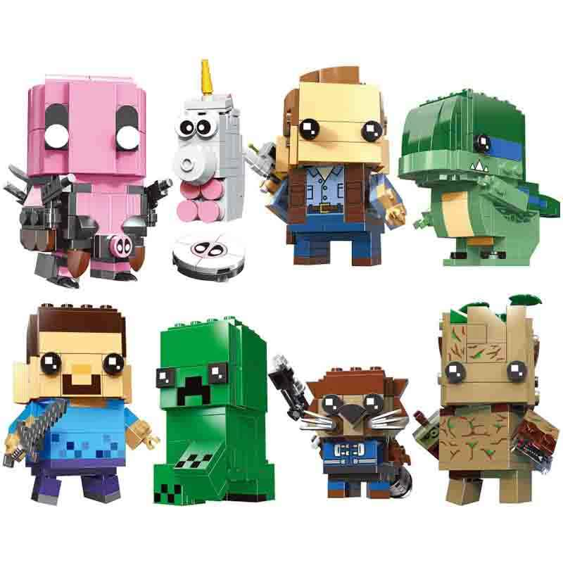 Minecrafted Brickheadz Steve Creeper Rocket owen blue Gwenpool Action Figure Building Blocks toy For kids gift
