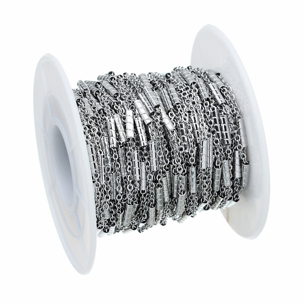 LOULEUR 10 Yard Roll Stainless Steel Men 39 s Chains Wide 1 5mm Beads Cross Chain Bulk for Necklace Bracelet DIY Jewelry Making in Jewelry Findings amp Components from Jewelry amp Accessories