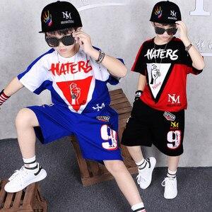 Image 2 - Детская одежда, спортивный костюм, летний комплект для мальчиков из двух предметов, детская одежда, костюм с вышивкой, одежда для детей 4, 6, 8, 10, 12, 14, 16 лет