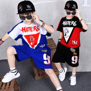 Image 2 - Children Clothing Sports Suit Boy Summer Set Two piece Childrens Wear stitching suit 4 6 8 10 12 14 16 Years old Child clothes