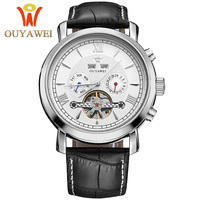 OUYAWEI Men Mechanical Watches Simple white Business Skeleton Tourbillon Clock Classic Leather Automatic Male Wrist Watch Time